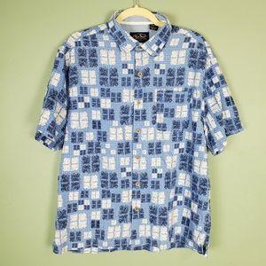 Nat Nast Button Up Silk Blend Blue Casual Shirt L